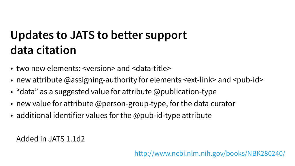 Updates to JATS to better support 