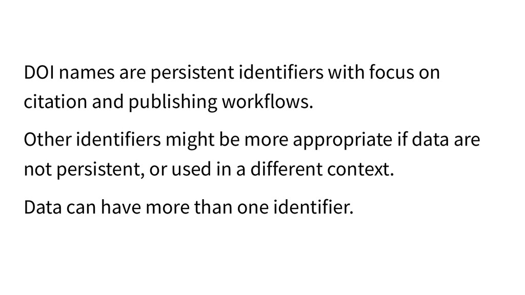 DOI names are persistent identifiers with focus...