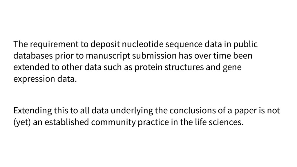 The requirement to deposit nucleotide sequence ...