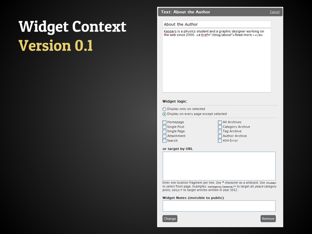 Widget Context Version 0.1