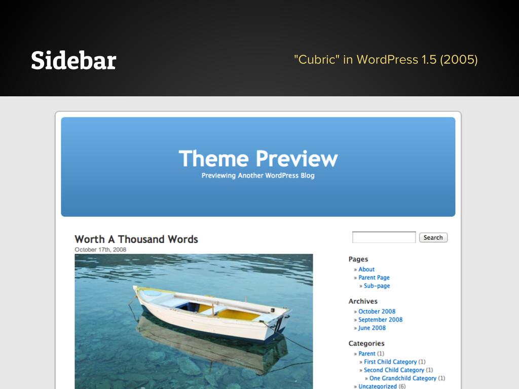 """Sidebar """"Cubric"""" in WordPress 1.5 (2005)"""