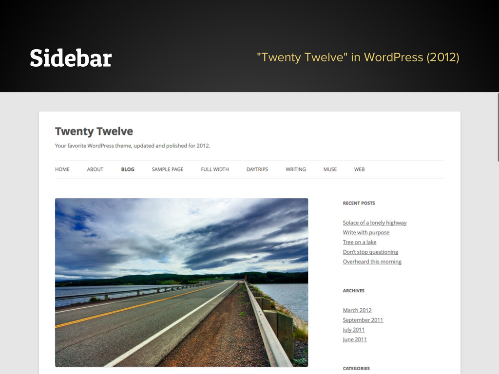 "Sidebar ""Twenty Twelve"" in WordPress (2012)"