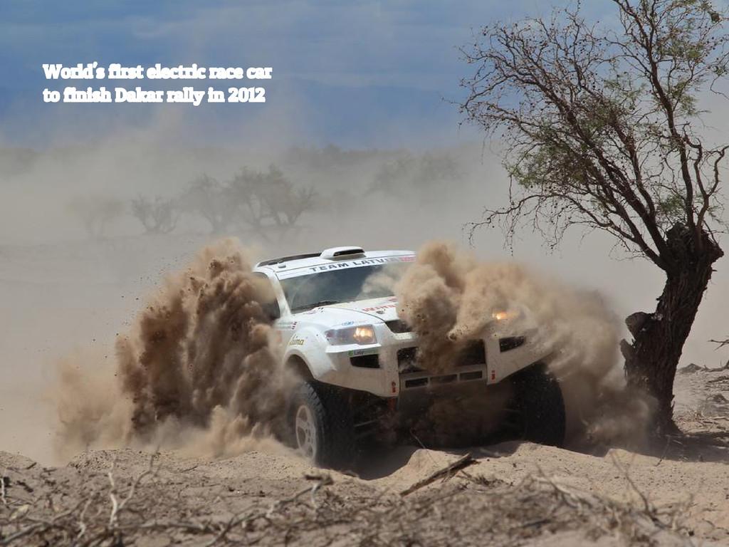 World's first electric race car to finish Dakar...