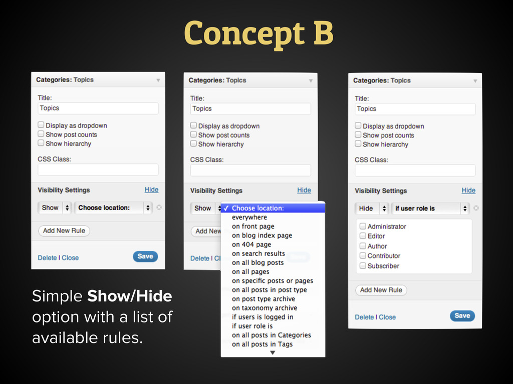 Simple Show/Hide option with a list of availabl...