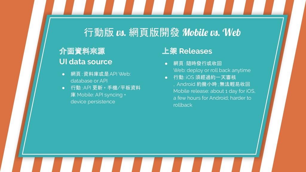 行動版 vs. 網頁版開發 Mobile vs. Web 介面資料來源 UI data sou...