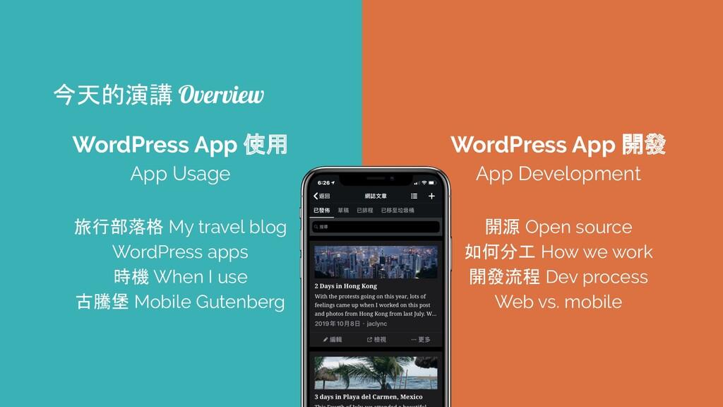WordPress App 使用 App Usage 旅行部落格 My travel blog...