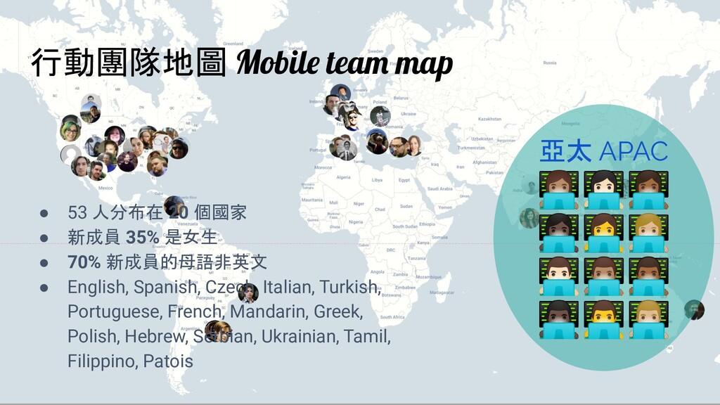 行動團隊地圖 Mobile team map ● 53 人分布在 20 個國家 ● 新成員 3...