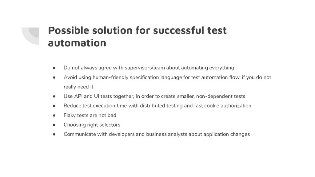 Possible solution for successful test automatio...
