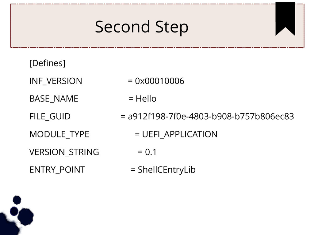 Second Step [Defines] INF_VERSION = 0x00010006 ...