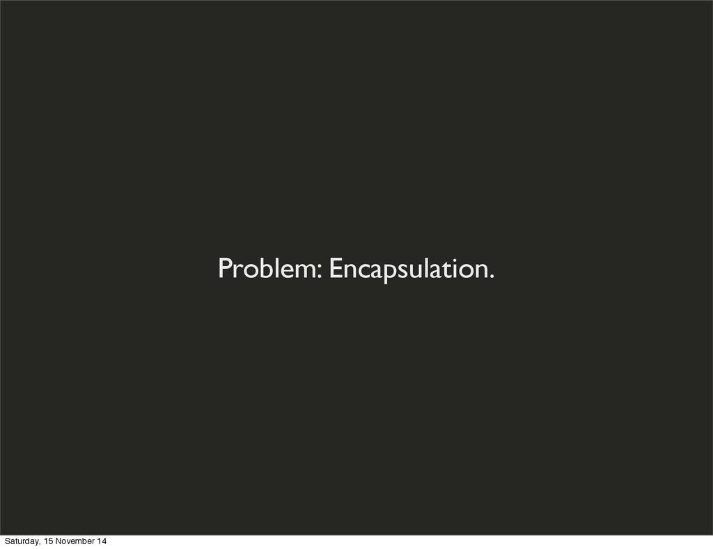 Problem: Encapsulation. Saturday, 15 November 14
