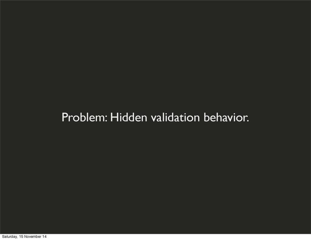 Problem: Hidden validation behavior. Saturday, ...