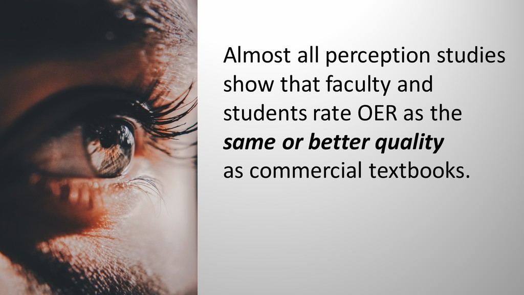 Almost all perception studies show that faculty...