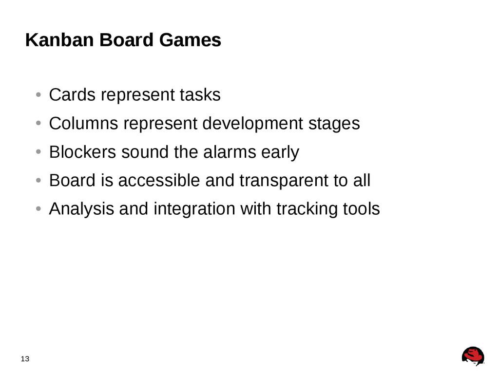 13 Kanban Board Games ● Cards represent tasks ●...