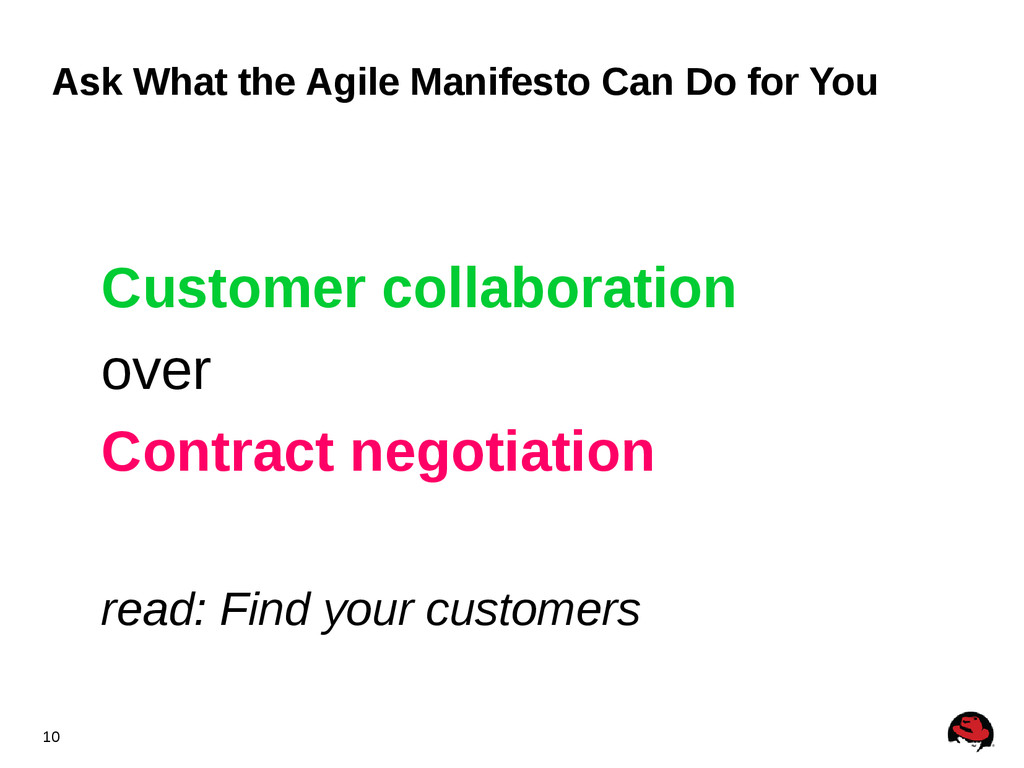 10 Ask What the Agile Manifesto Can Do for You ...