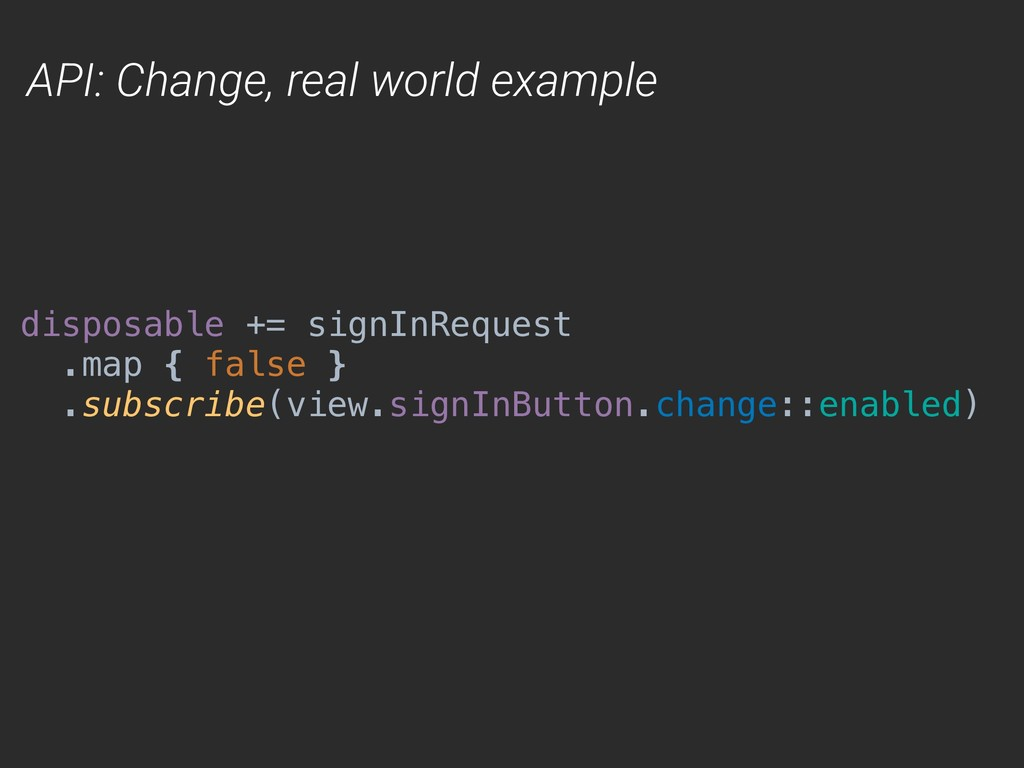 API: Change, real world example disposable += s...