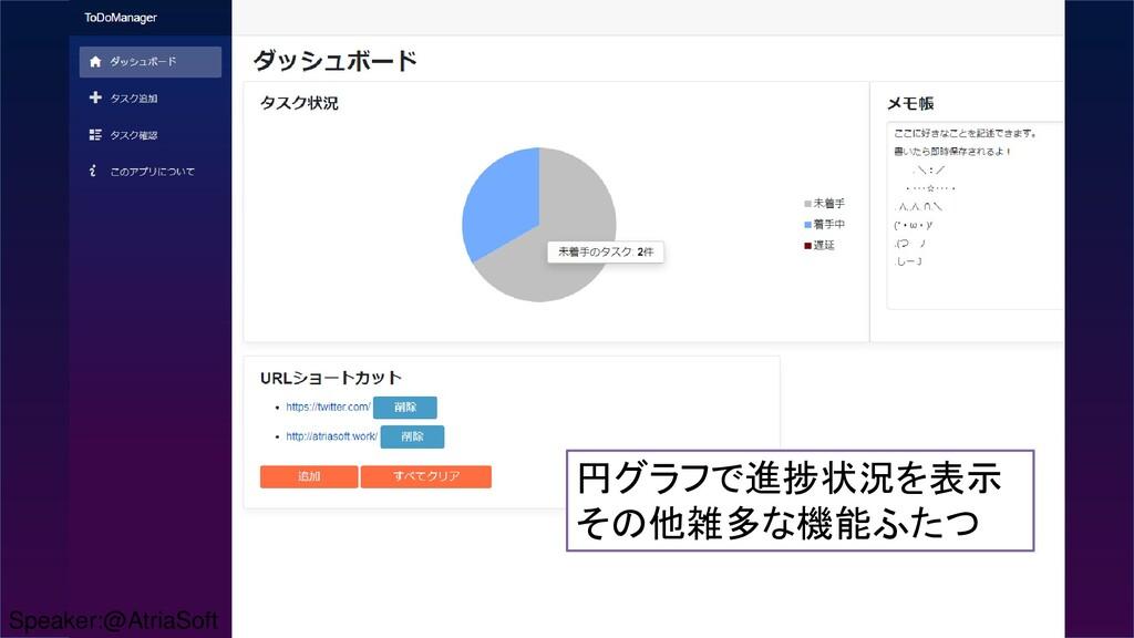 円グラフで進捗状況を表示 その他雑多な機能ふたつ Speaker:@AtriaSoft