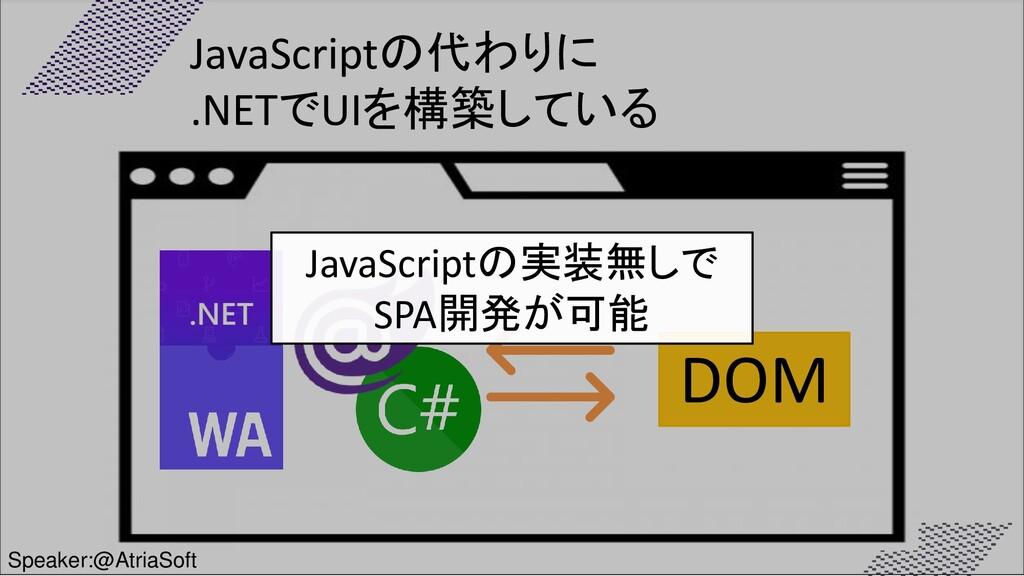 DOM JavaScriptの実装無しで SPA開発が可能 JavaScriptの代わりに ....