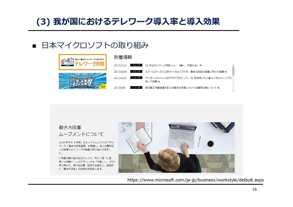(3) 我が国におけるテレワーク導⼊率と導⼊効果  ⽇本マイクロソフトの取り組み 16 ht...