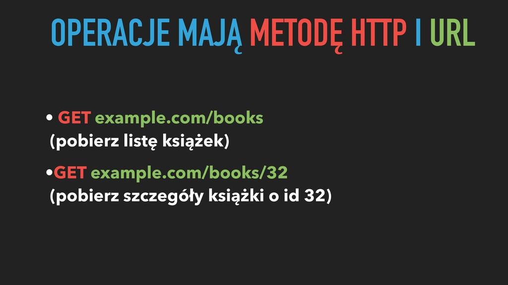 OPERACJE MAJĄ METODĘ HTTP I URL • GET example.c...