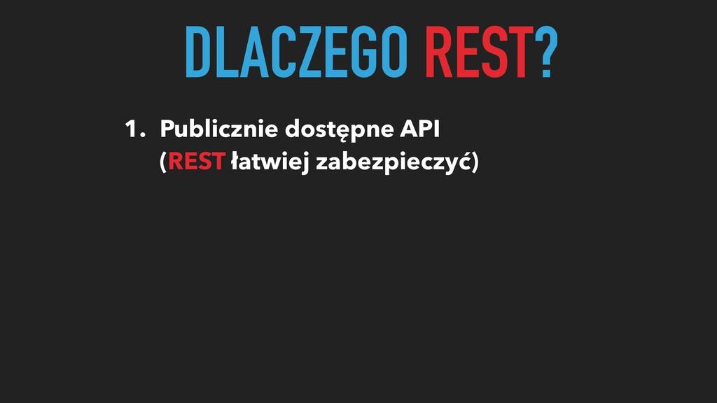DLACZEGO REST? 1. Publicznie dostępne API (REST...