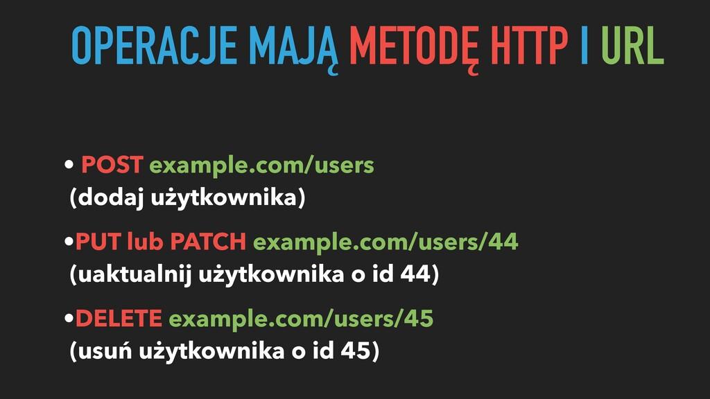 OPERACJE MAJĄ METODĘ HTTP I URL • POST example....
