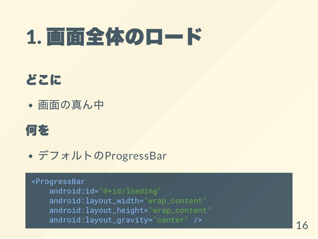 1. 画面全体のロー ド どこに 画面の真ん中 何を デフォルトのProgressBar <P...