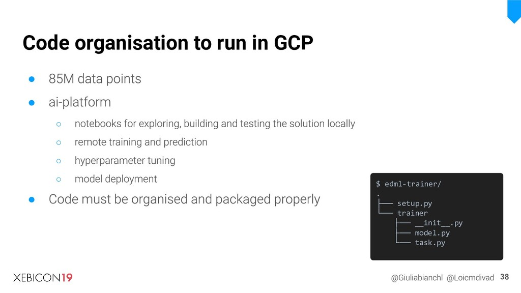 Code organisation to run in GCP ● ● ○ ○ ○ ○ ● 3...