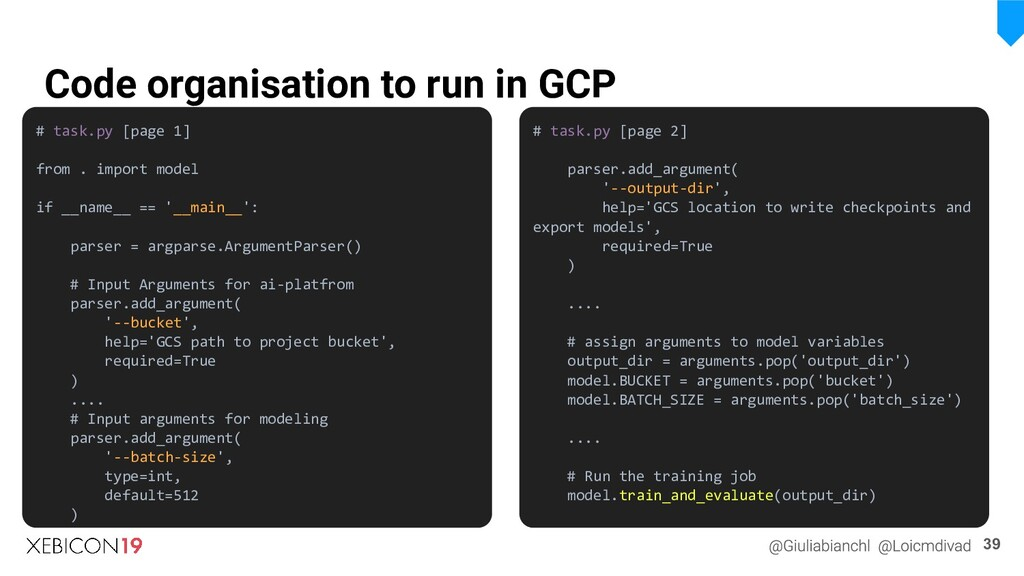 Code organisation to run in GCP 39 # task.py [p...