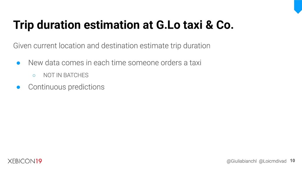 Trip duration estimation at G.Lo taxi & Co. 10 ...