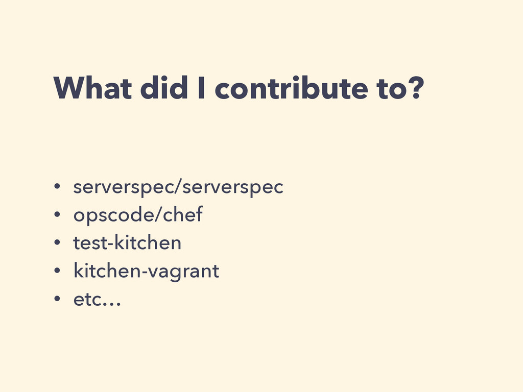 What did I contribute to? • serverspec/serversp...