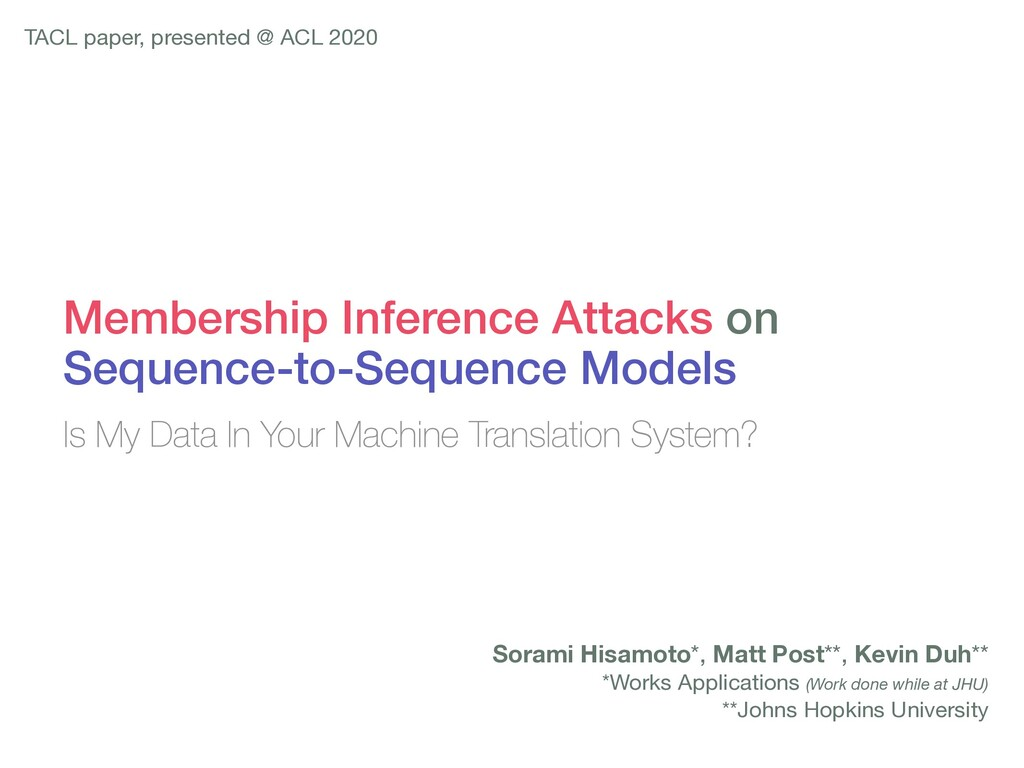 Membership Inference Attacks on Sequence-to-Seq...