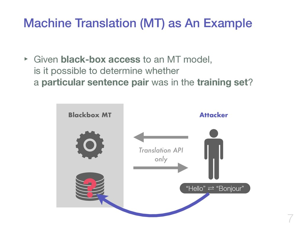 Machine Translation (MT) as An Example ‣ Given ...