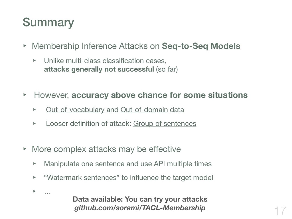 Summary ‣ Membership Inference Attacks on Seq-t...