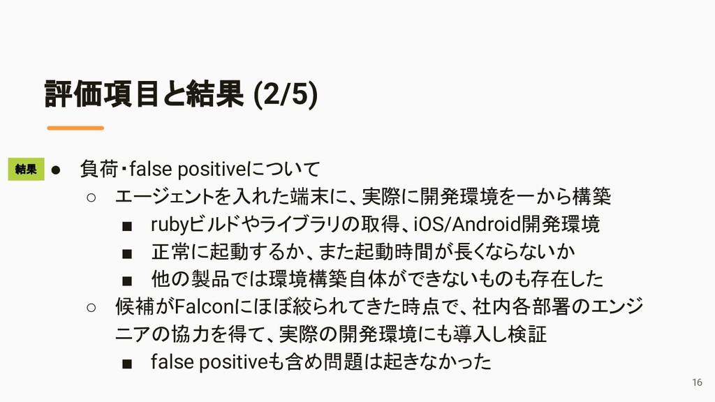 評価項目と結果 (2/5) ● 負荷・false positiveについて ○ エージェントを...