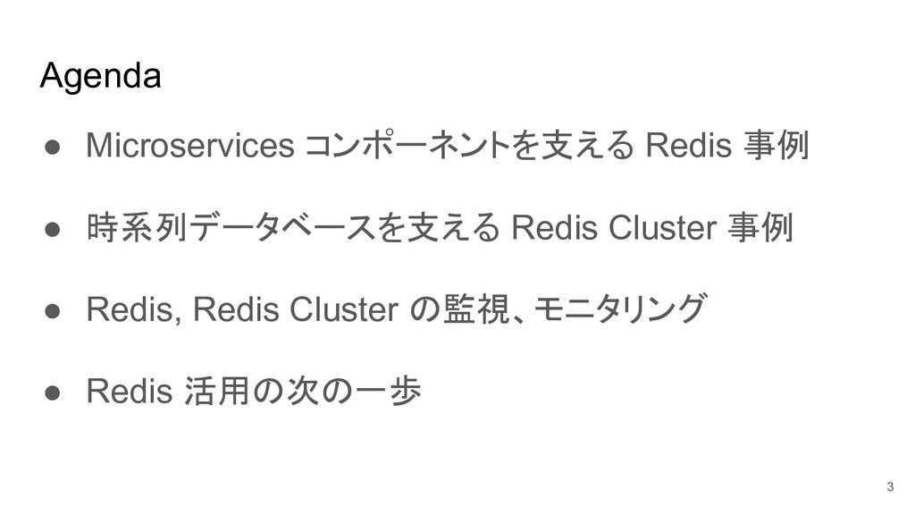 Agenda ● Microservices コンポーネントを支える Redis 事例 ● 時...
