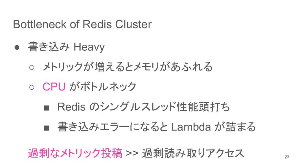 Bottleneck of Redis Cluster ● 書き込み Heavy ○ メトリッ...