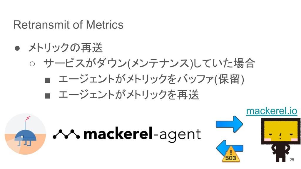 Retransmit of Metrics ● メトリックの再送 ○ サービスがダウン(メンテ...