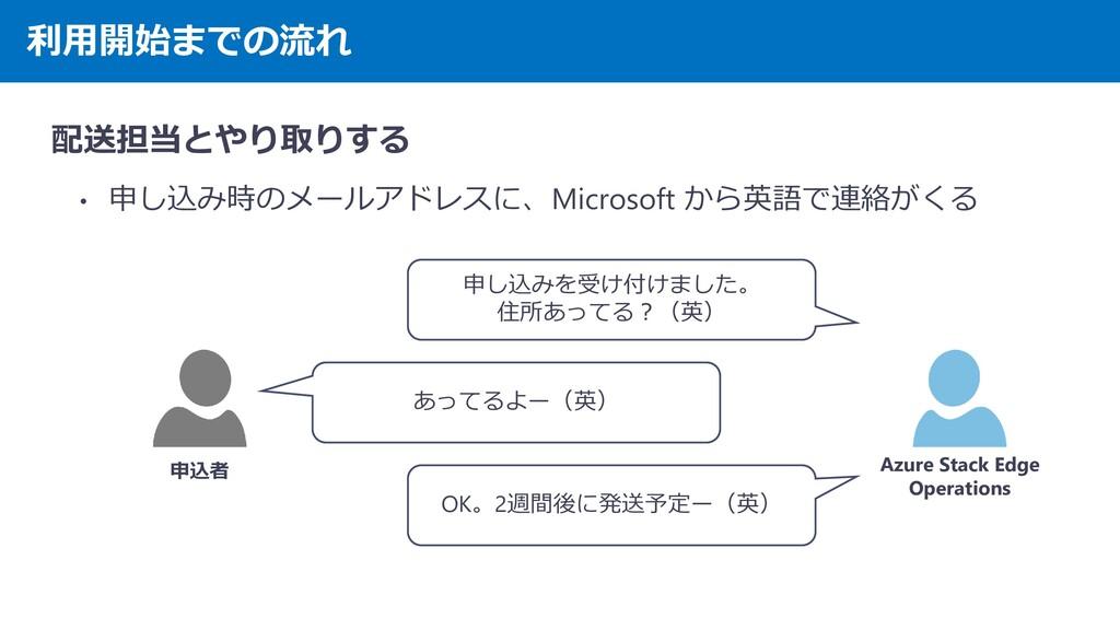 利用開始までの流れ 配送担当とやり取りする • 申し込み時のメールアドレスに、Microsof...