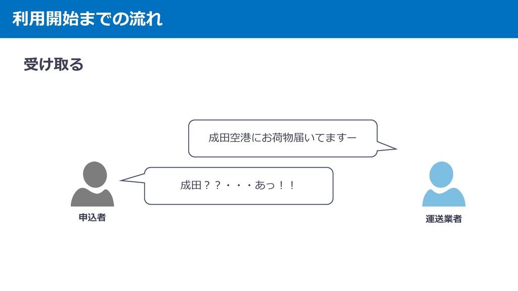 利用開始までの流れ 受け取る 申込者 運送業者 成田空港にお荷物届いてますー 成田??・・・あ...