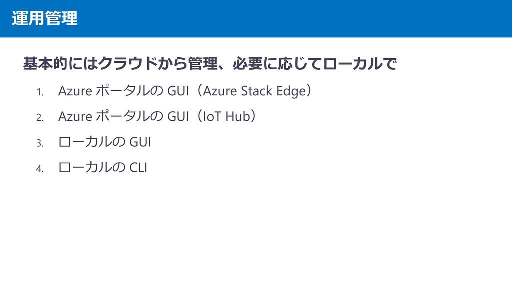 運用管理 基本的にはクラウドから管理、必要に応じてローカルで 1. Azure ポータルの G...