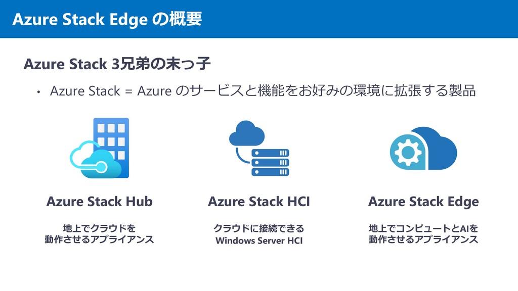 Azure Stack Edge の概要 Azure Stack 3兄弟の末っ子 • Azur...
