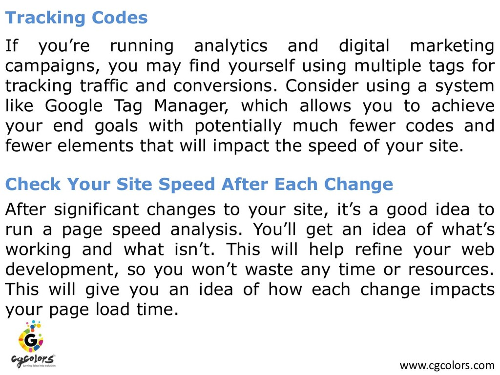 www.cgcolors.com Tracking Codes If you're runni...