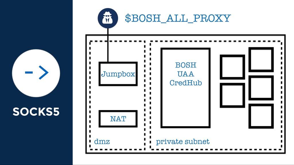 SOCKS5 -> dmz private subnet BOSH UAA CredHub J...