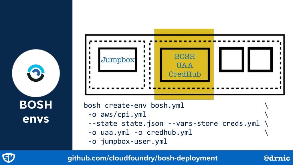 BOSH envs BOSH UAA CredHub Jumpbox github.com/c...
