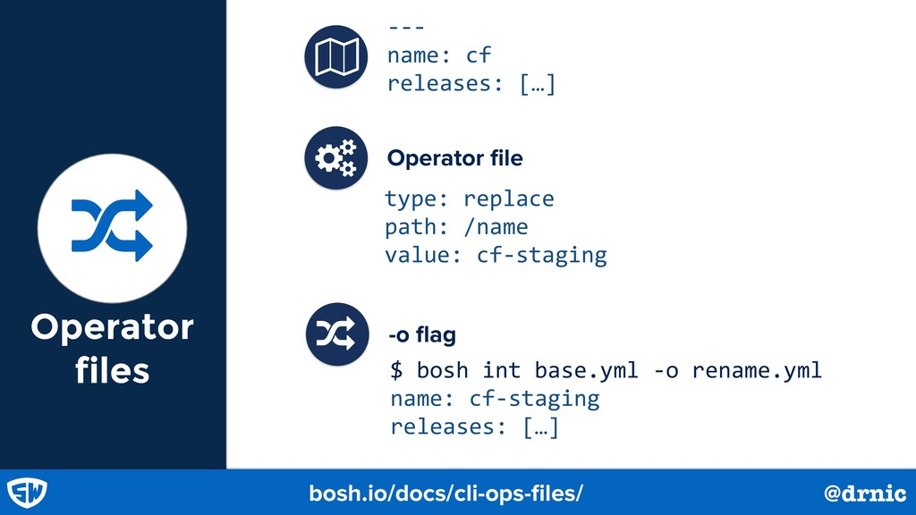 Operator files bosh.io/docs/cli-ops-files/ @drni...