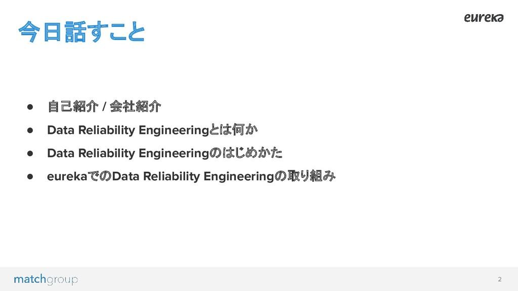 2 ● 自己紹介 / 会社紹介 ● Data Reliability Engineeringと...