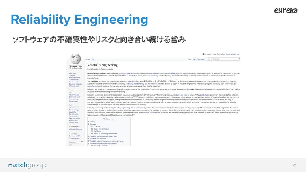 21 ソフトウェアの不確実性やリスクと向き合い続ける営み Reliability Engine...