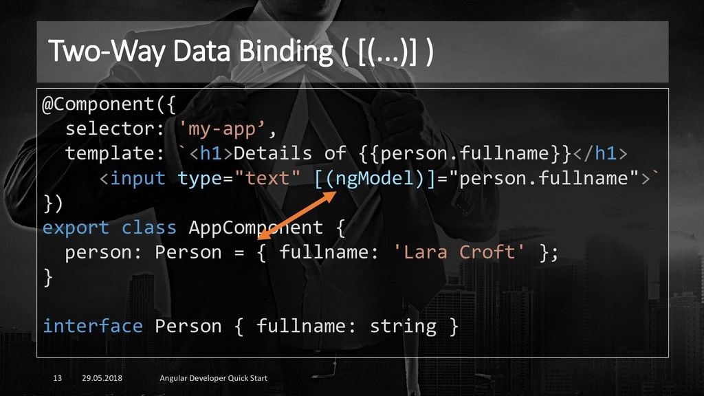Two-Way Data Binding ( [(...)] ) 29.05.2018 Ang...