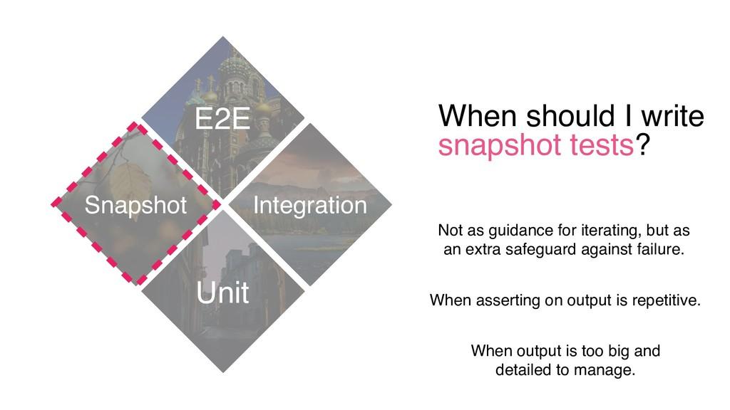 When should I write snapshot tests? E2E Unit In...