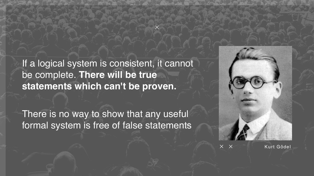 Kurt Gödel There is no way to show that any use...